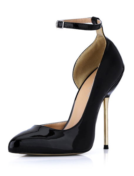 Milanoo Black Stiletto Heels Ankle Strap Patent Leather Women's High Heels Shoes
