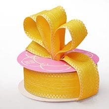 Polyester Yellow Katie Linen Ribbon - 1-1/2 X 20 Yards - Polyethyleneester - Embellishments & Trims by Paper Mart
