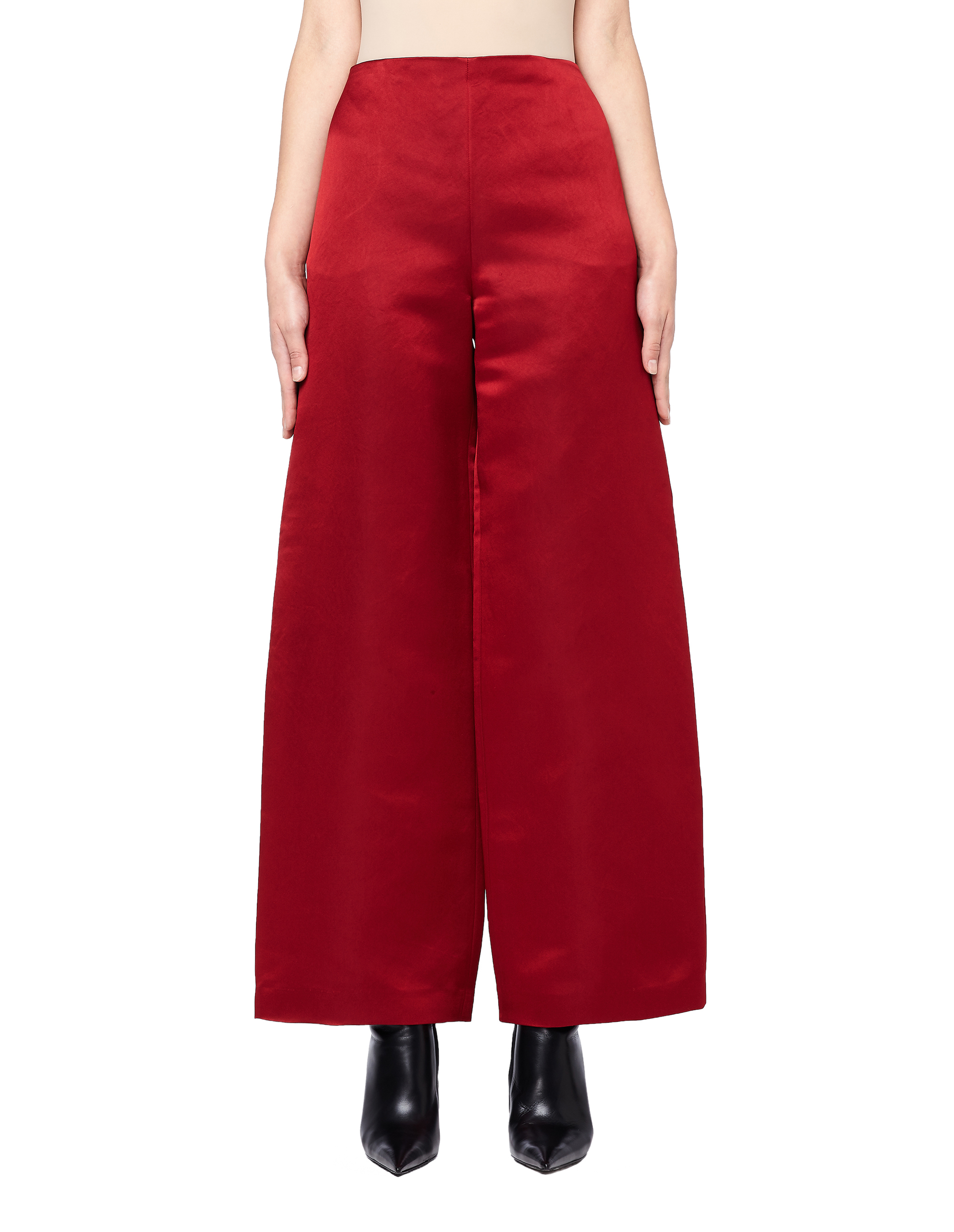 The Row Strom Wide Leg Red Silk Pants