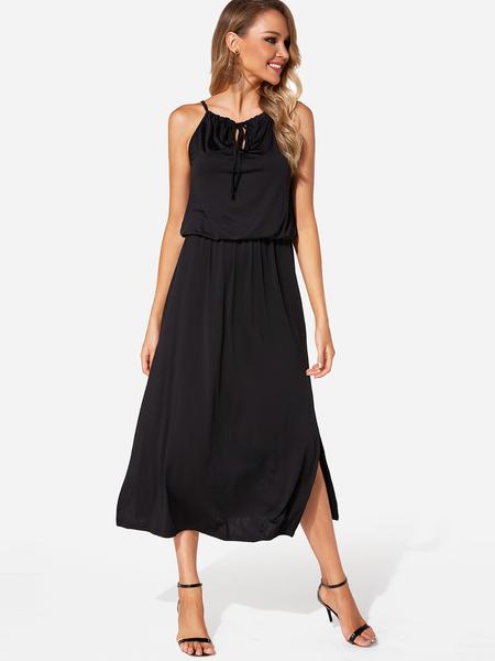 Yoins Black Cut Out Halter Sleeveless Dress with Slit Hem