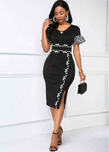 Rosewe Women Black Lace Panel Short Sleeve Sheath Cocktail Party Dress Side Slit Midi Elegant Work Dress - XL