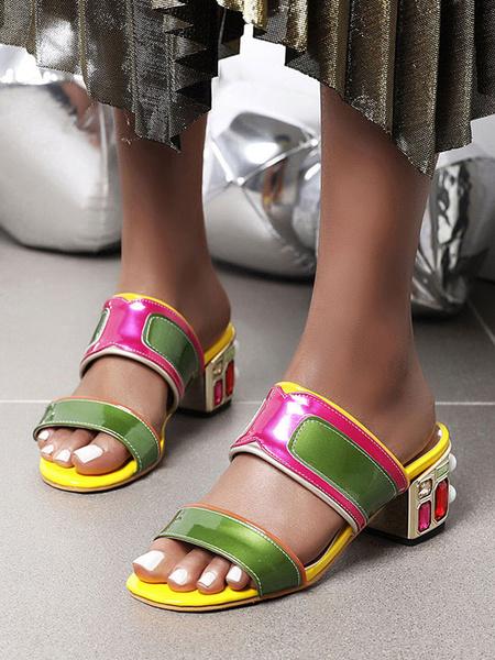 Milanoo Womens Patent Sandals Crystal ColorBlock Open Toe Plus Size Block Heel Shoes