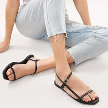 Buckled Ankle Asymmetric Strappy Sandals