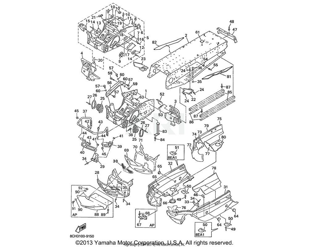 Yamaha OEM 8CH-21978-00-00 PROTECTOR, FRAME | VX700