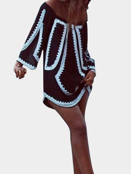 Yoins Black Geometrical Print Off Shoulder Mini Dress