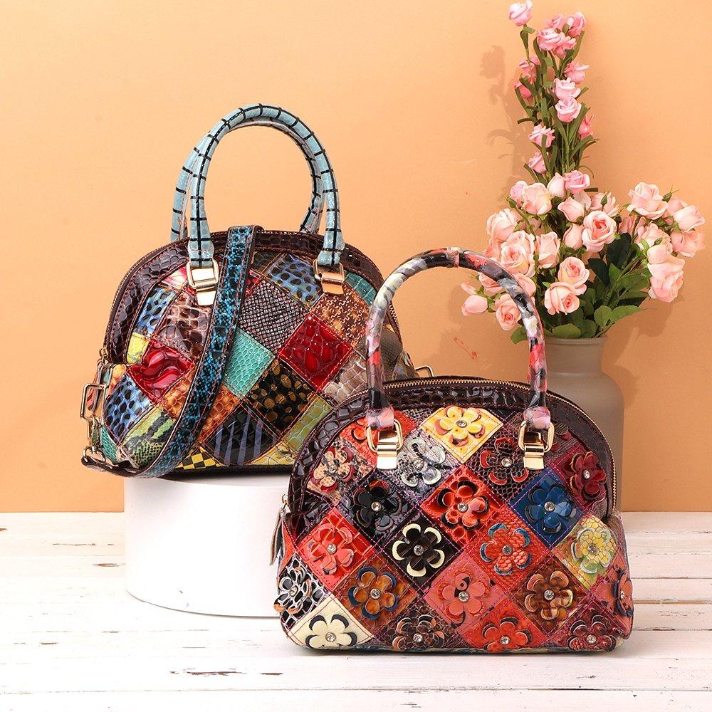 Women Genuine Leather Bohemian Floral Crossbody Bags Vintage Patchwork Shell Handbags