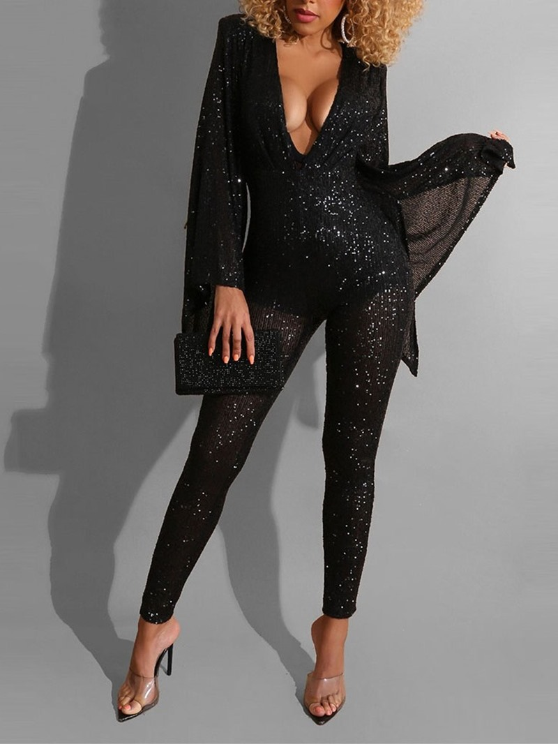 Ericdress Ankle Length Sexy Sequins Skinny Pencil Pants Jumpsuit