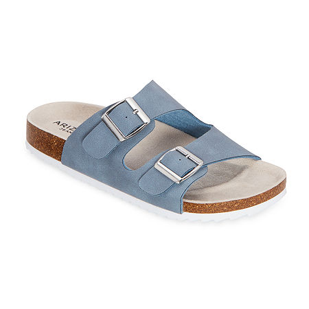 Arizona Finlee Womens Two Strap Footbed Sandals, 8 Medium, Blue