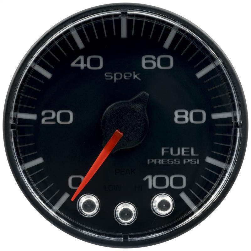 AutoMeter GAUGE; FUEL PRESS; 2 1/16in.; 100PSI; STPR MTR W/PK/WRN; BK/BK; SPEK; NO O-RING