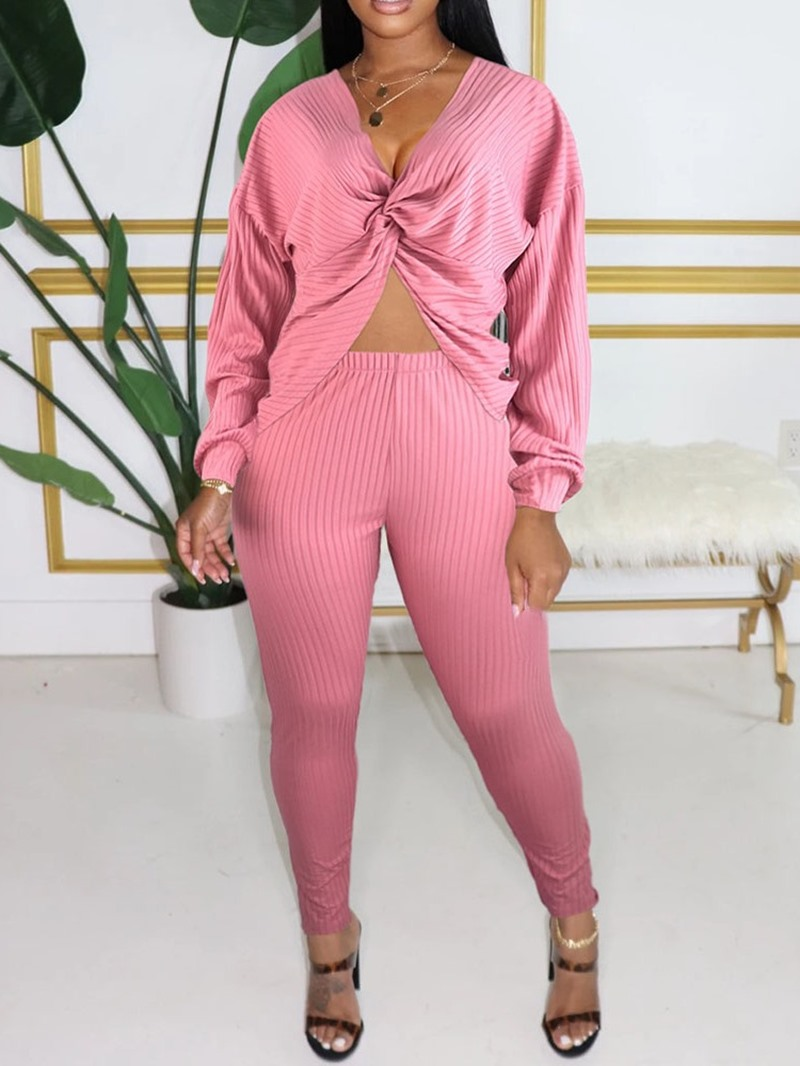 Ericdress Ankle Length Pants Plain Sexy Pencil Pants Pullover Two Piece Sets