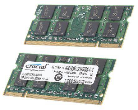 Crucial 2 x 2 GB DDR2 RAM 800MHz SODIMM 1.8V