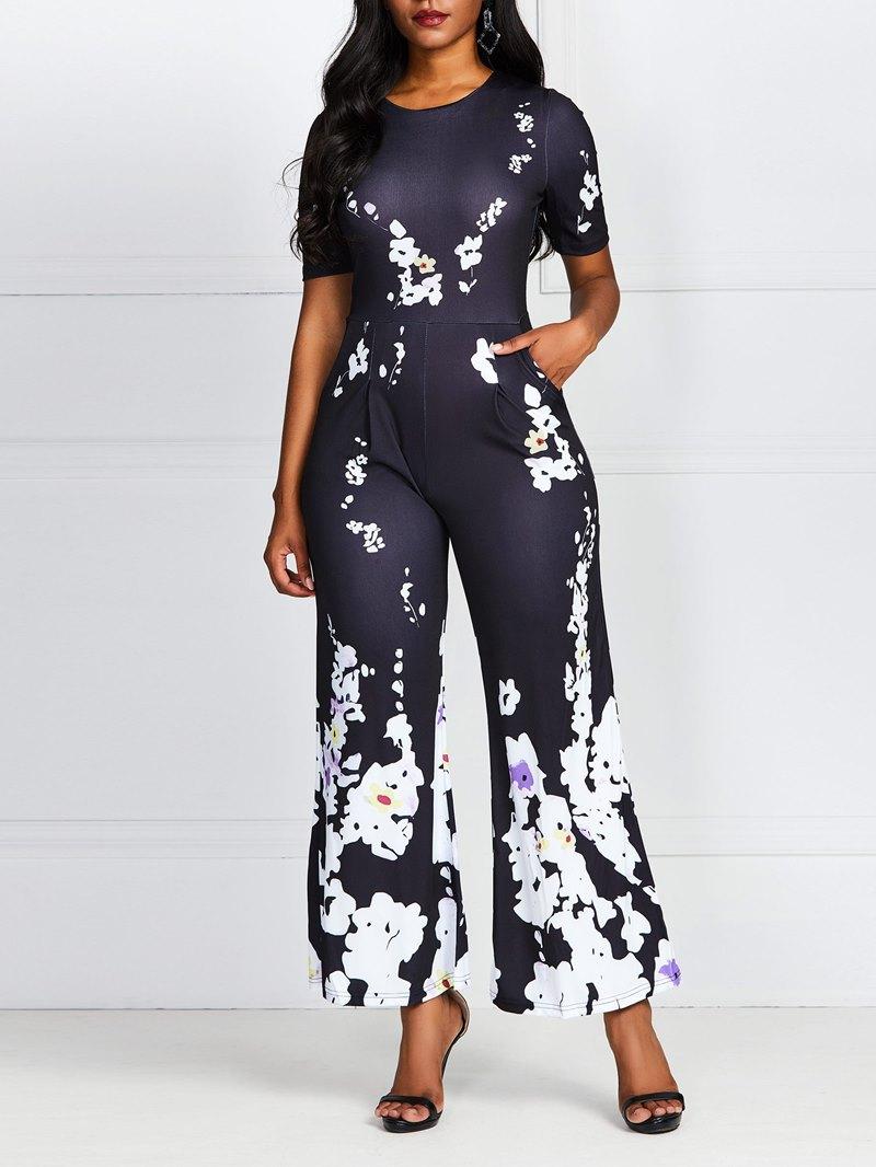 Ericdress Plus Size Floral Print Off Shoulder High Waist Jumpsuit