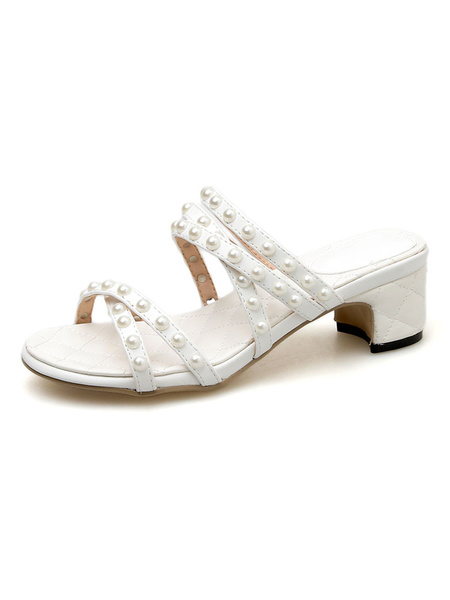 Milanoo Multi Straps Sandals Block Heel Slippers White Slides with Pearls