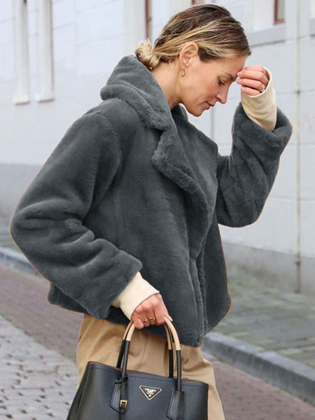 Milanoo Faux Fur Coats For Women Long Sleeves Casual Turndown Collar Burgundy Winter Coat
