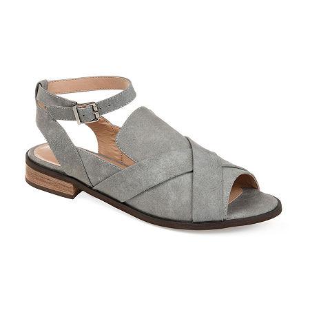 Journee Collection Womens Suzy Peep Toe Slip-On Shoe, 6 Medium, Gray