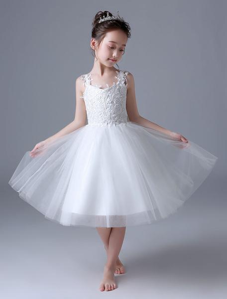 Milanoo Flower Girl Dresses Ivory Lace Tutu Dress Princess Sleeveless Bows Kids Party Dress