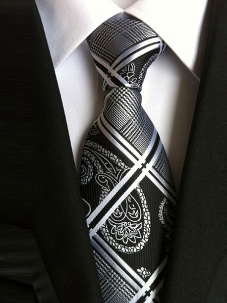 Milanoo Black Neck Ties Men Plaid Jacquard Business Ties