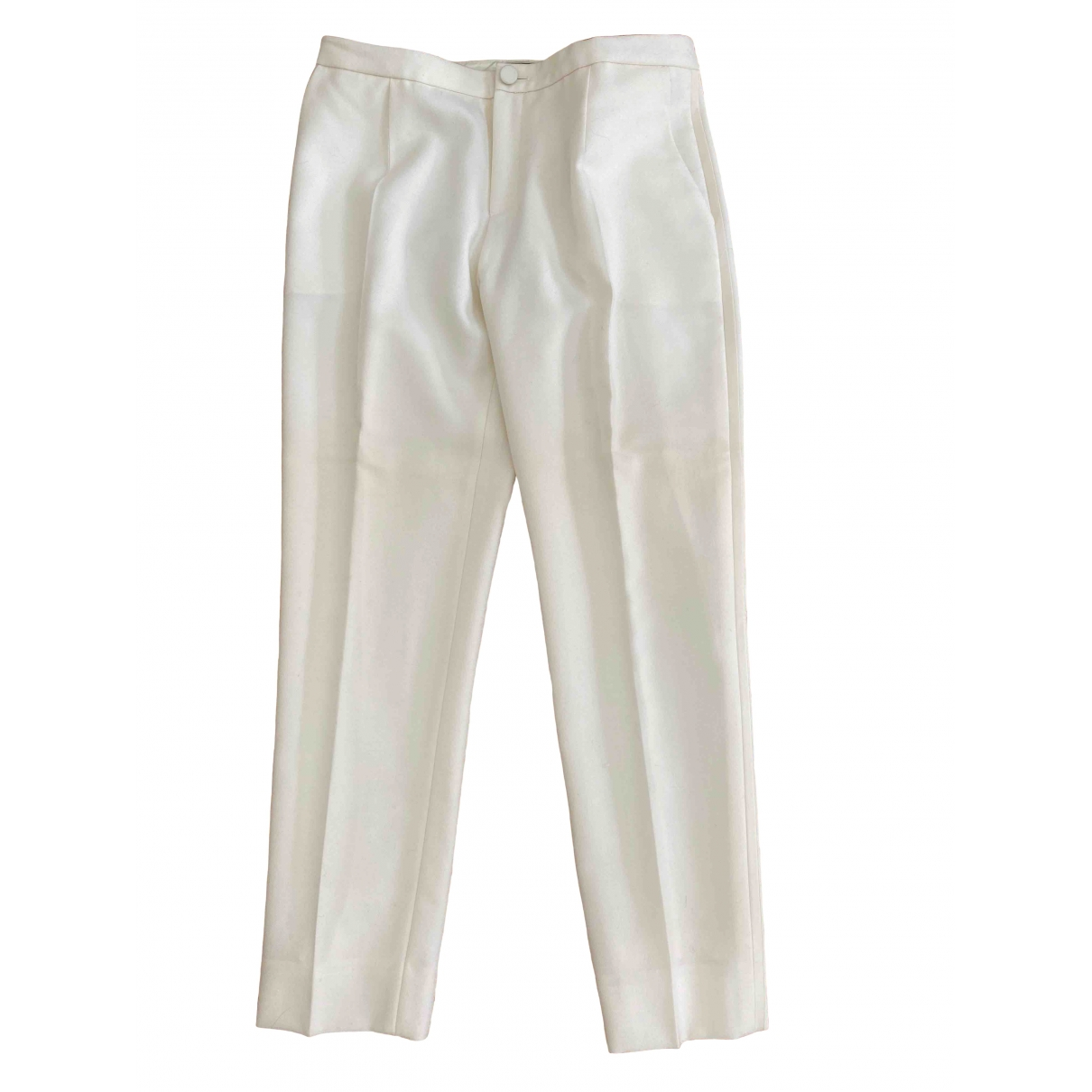 Bouchra Jarrar \N Ecru Wool Trousers for Women 40 FR
