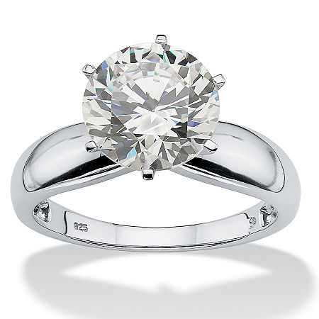 DiamonArt Womens 3 1/2 CT. T.W. White Cubic Zirconia Platinum Over Silver Round Engagement Ring, 7 , No Color Family