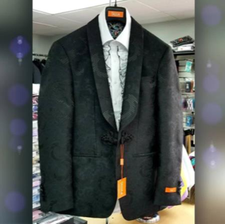 Mens Shawl Lapel Single Breasted Black Suit