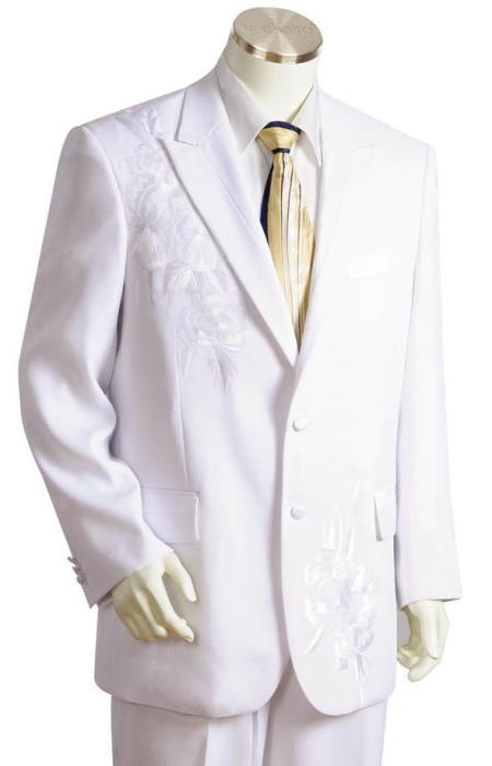 Mens Floral Embroidered Peak Lapel White Zoot Suit