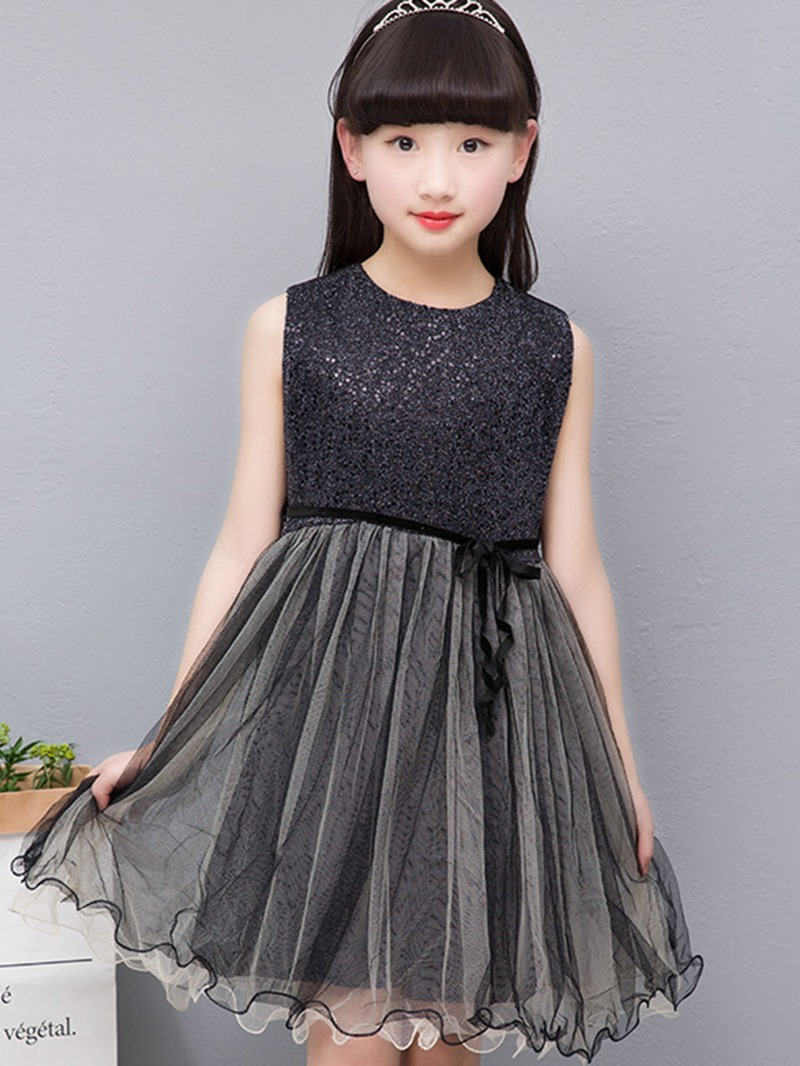 Ericdress Sweet Lace Mesh Patchwork Sleeveless Bowknot Girls Dress
