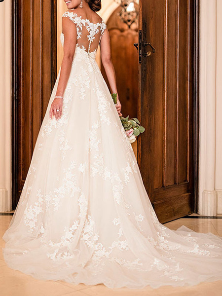 Milanoo Wedding Dresses A Line V Neck Sleeveless Lace Illusion Back Bridal Gowns
