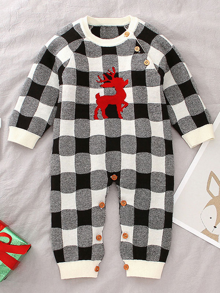 Milanoo Onesie Pajamas Kigurumi Christmas Pattern Checkered Kid Winter Sleepwear Mascot Animal Halloween Costume