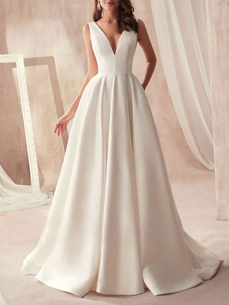 Milanoo vintage wedding dresses 2020 a line v neck sleeveless floor length pleat bridal gowns with train