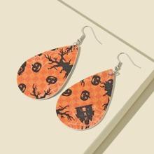 Pumpkin Pattern Water Drop Earrings