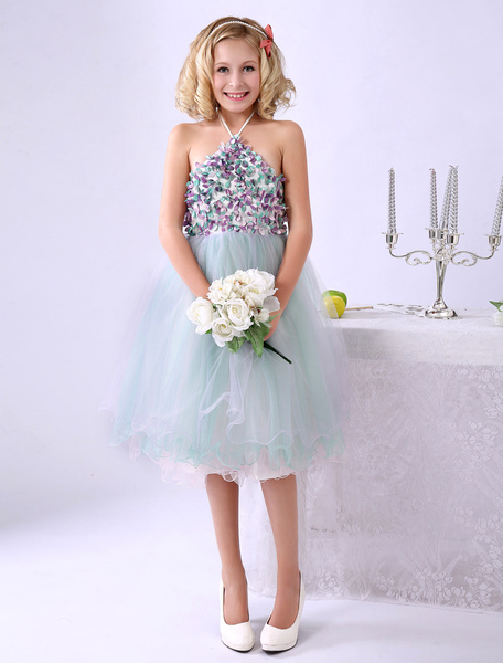 Milanoo Halter A-line Flower Tulle Beautiful Flower Girl Dress