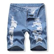 Men Ripped Denim Shorts