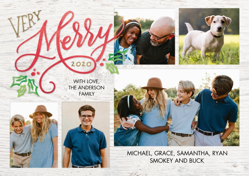 Christmas Photo Cards 5x7 Cards, Premium Cardstock 120lb with Rounded Corners, Card & Stationery -Christmas 2020 Merry Holly by Tumbalina