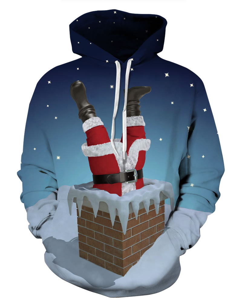 Long Sleeve Santa Falling in Chimney Christmas Pattern 3D Painted Hoodie