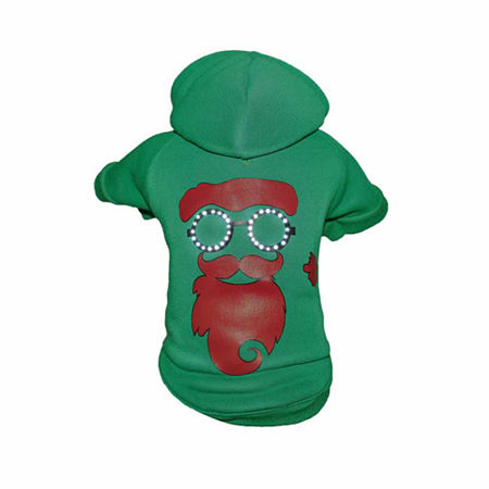 The Pet Life LED Lighting Cool Santa Shades Hooded Sweater Pet Costume, One Size , Green