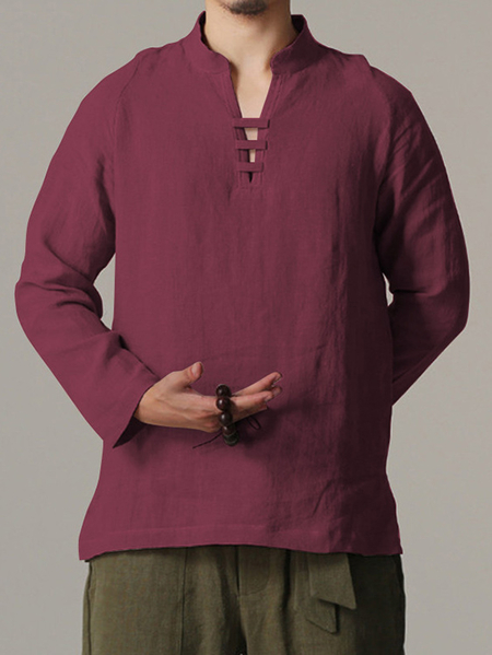 Yoins INCERUN Men Chinese V-neck Cotton And Linen Shirt Casual Solid Color Long Sleeve Loose Shirt