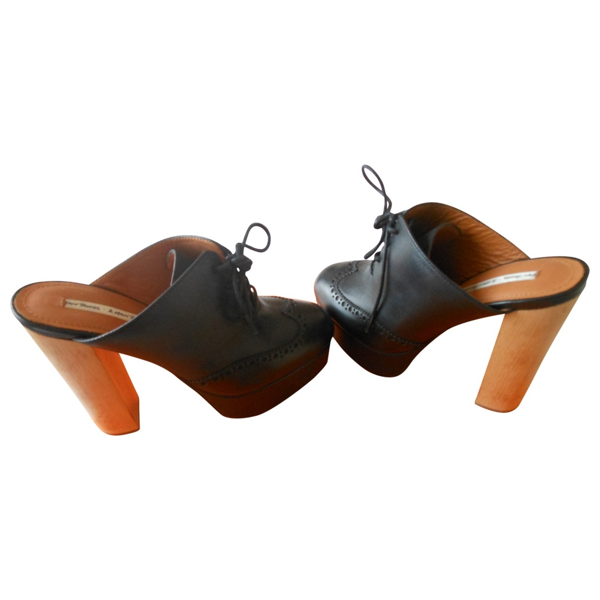 & Stories \N Black Leather Mules & Clogs for Women 36 EU