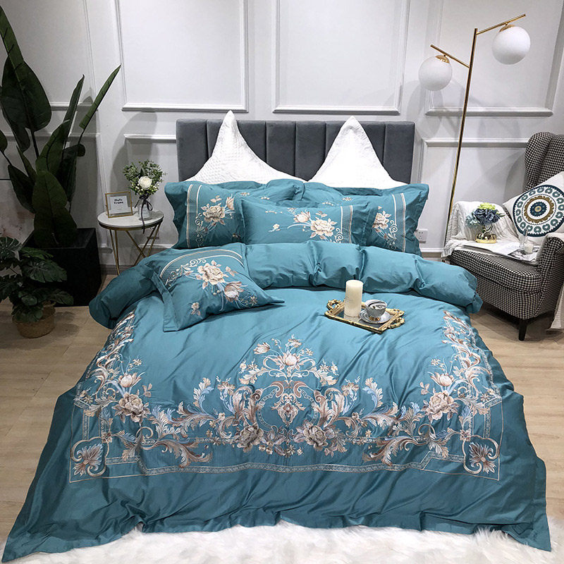 Floral Embroidery Four-Piece Set Embroidery Duvet Cover Set Cotton Bedding Sets