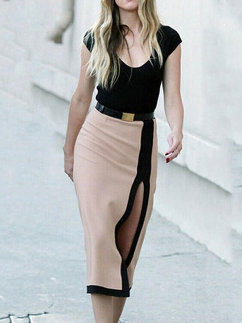 Ericdress Patchwork Scoop Mid-Calf Color Block Mid Waist Dress