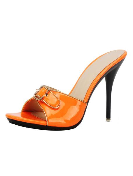 Milanoo High Heel Sandals Women Sandal Slippers Nude Open Toe Buckle Detail Stiletto Heel Sandal Slippers
