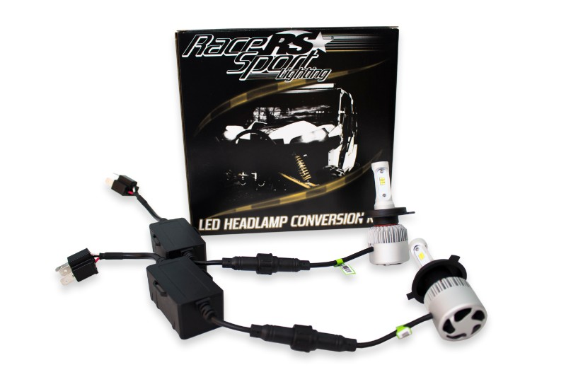 Race Sport Lighting H4LEDDS H4-3 Drive Series High/Low 2,100 LUX Driverless Plug-&-Play LED Headlight Kit with Canbus Decoder