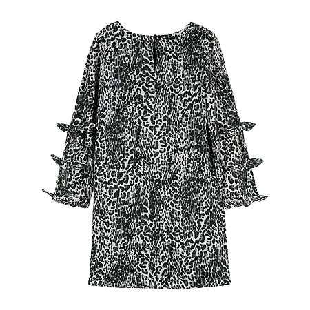 by&by girl Big Girls Long Sleeve Split Sleeve Shift Dress, 10 , Gray