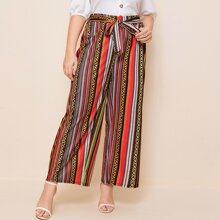 Plus Striped Tie Front Wide Leg Pants