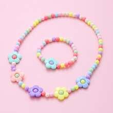 2pcs Girls Flower Decor Beaded Jewelry Set