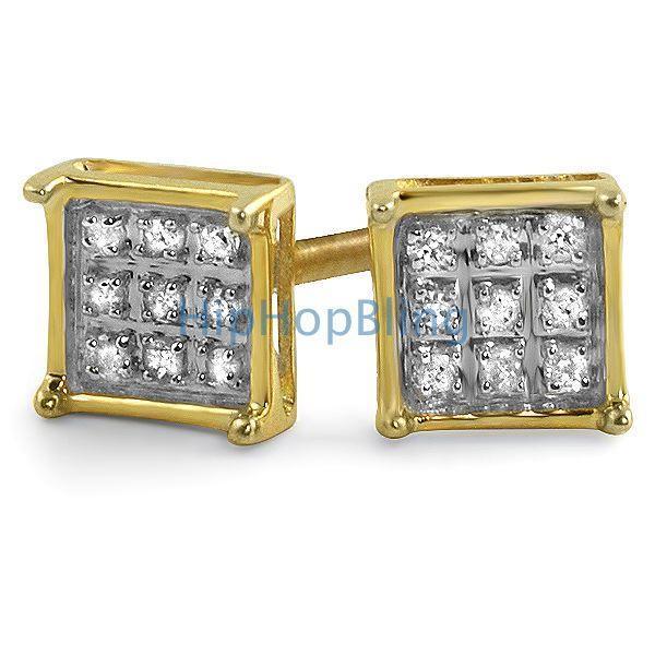 .05ct Real Diamond Box Earrings Gold Vermeil