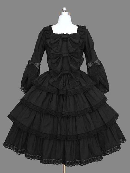 Milanoo Gothic Lolita OP Dress Black Ruffles Lolita One Piece Dresses