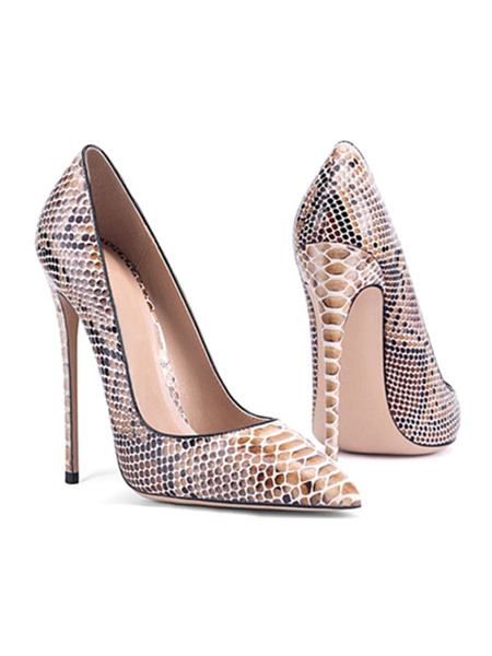 Milanoo Women's High Heels Pointed Toe Snake Print Stiletto Heel Chic Plus Size Pumps