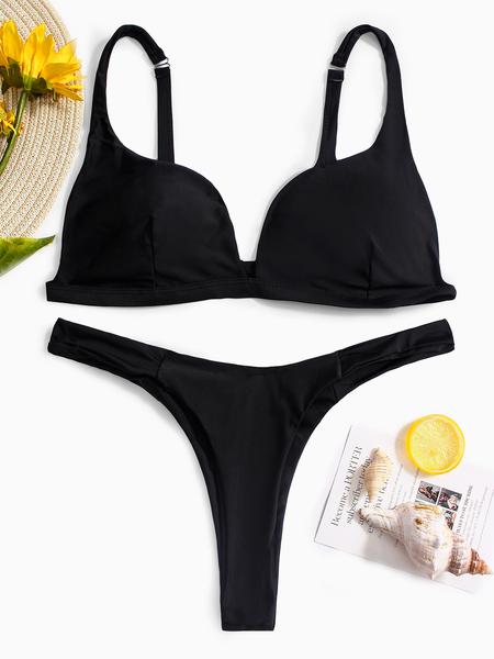 Yoins Black Sexy Basic V-neck High Waist Bikini Set