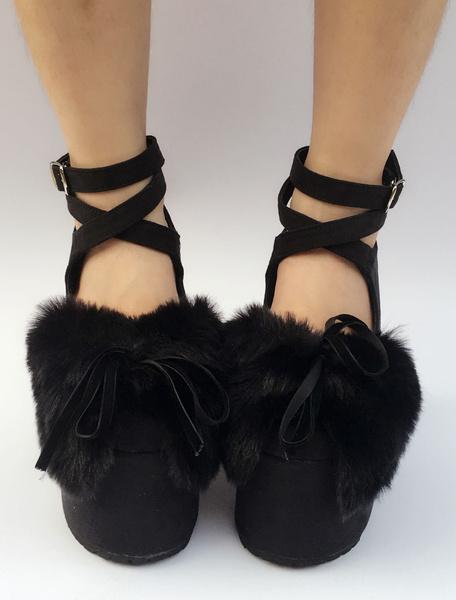 Milanoo Suede Lolita Shoes Black Platform Chunky Heel Faux Fur Bow Cross Front Ankle Strap Lolita Pumps