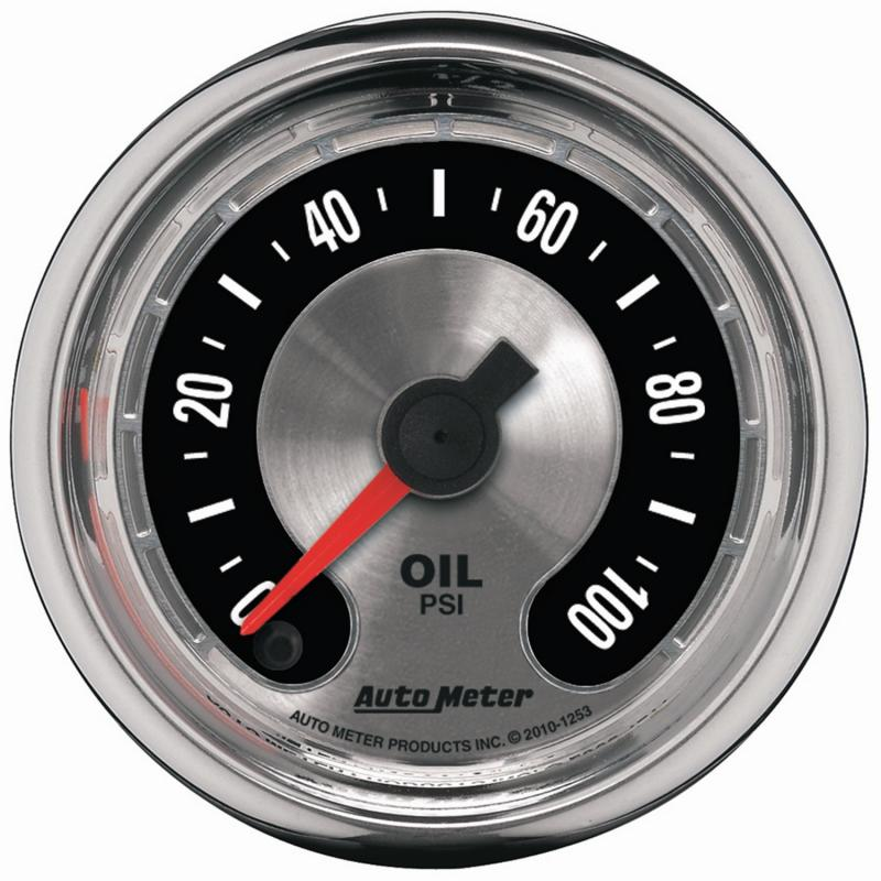AutoMeter GAUGE; OIL PRESS; 2 1/16in.; 100PSI; DIGITAL STEPPER MOTOR; AMERICAN MUSCLE